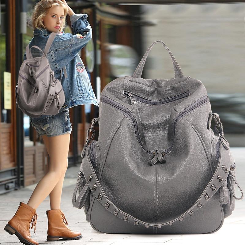 QWEEK Women Backpack Feminine Rivet High Quality PU Leather Top-handle Backpacks for Teenage Girls School Bags Mochila Escolar