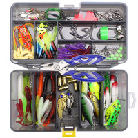 160pcs Fishing Lures Kit Mixed Hard Lure Soft Bait Crank Hooks Rolling Swivel Connector Fishing Accessories Set with Tackle Box