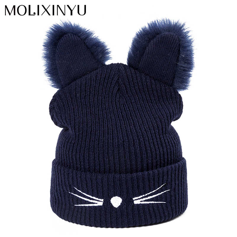 d513a923037 MOLIXINYU Lovely Cat Ears Hat Beanie Children Winter Warm Hat Knitted Boys  Girls Cute Winter Skullies