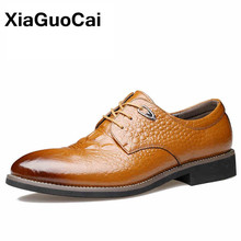 Xiaguocai осень Пояса из натуральной кожи туфли-оксфорды для мужчин Бизнес Для мужчин Крокодил Обувь кожаная для девочек Мужские модельные туфли мужской социальной обуви