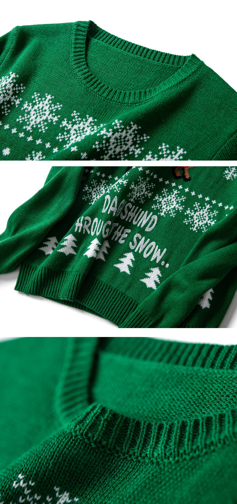 HTB14o emvBNTKJjSszeq6Au2VXaD - Christmas Sweater Cute Dachshund Embroidery Snow Letter Women Pullovers Long Sleeve Knitting Outwear PTC 287
