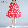 BelineRosa 2017 Plus Size Dress Summer Red Big Flower Floral Printed A-Line Kawaii Beach Dresses M,L,XL,XXL XM0040
