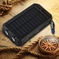 Portátil À Prova D' Água de Carga Externa Banco Energia Solar 10000 mah Dual USB de Viagem Carregador de Bateria Solar LEVOU Bússola Para Todo O Telefone