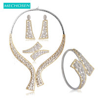 Дорогие mechosen Медь Свадебные Наборы свадебных ювелирных изделий Потрясающие циркония Фея для Для женщин обручальное ожерелье серьги, кольц