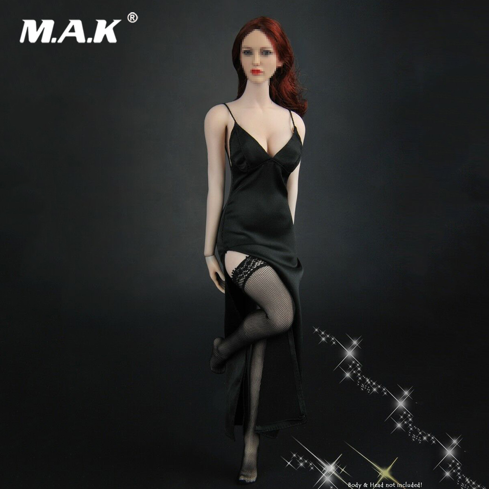 1/6 Sexy Female Clothes Accessory Black Evening Dress Stockings Clothing Set for 12 Female Figure Body Doll1/6 Sexy Female Clothes Accessory Black Evening Dress Stockings Clothing Set for 12 Female Figure Body Doll