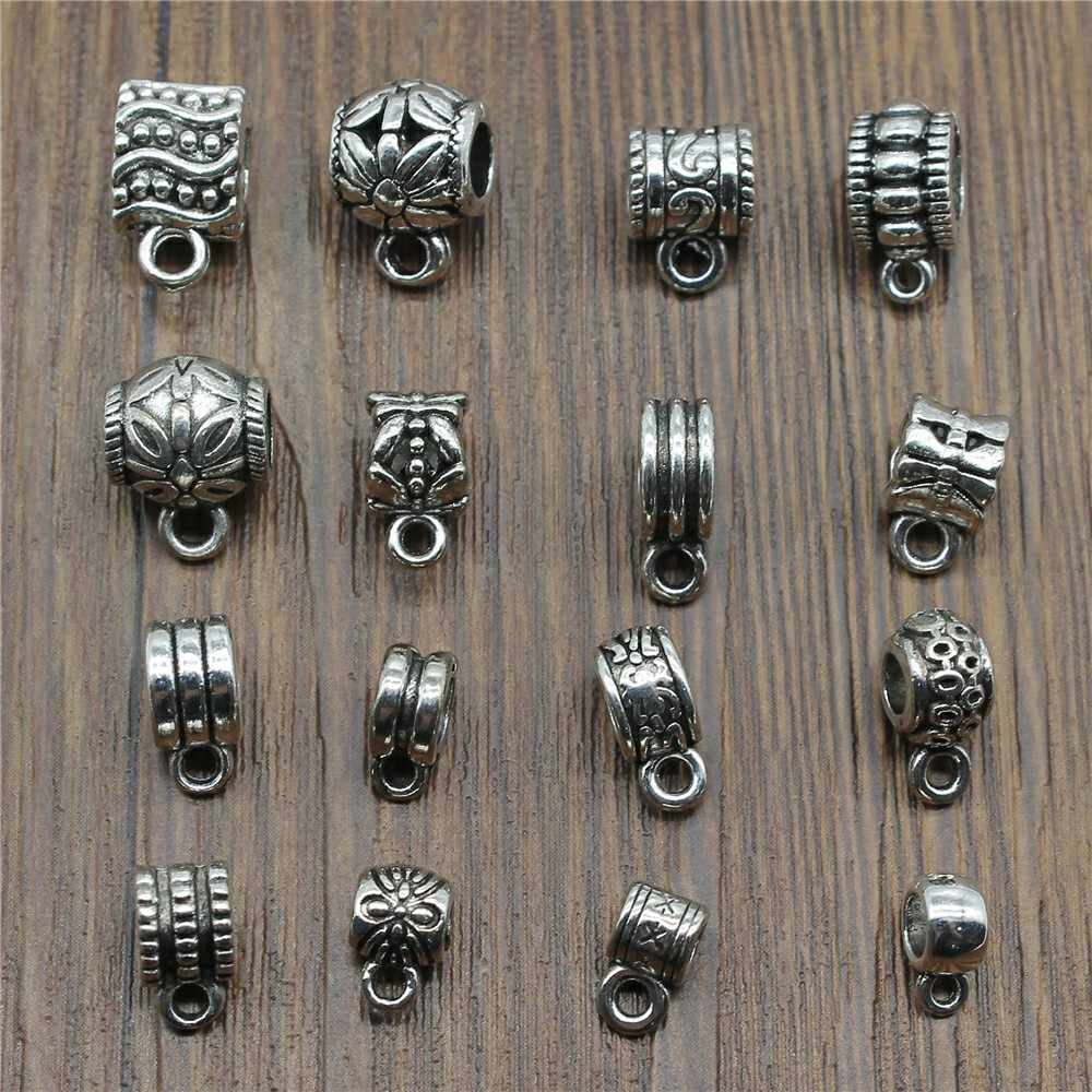 20pcs/lot Bails Beads Connector Charms Jewelry Findings Diy Bails Beads Charms Connector Wholesale Antique Silver Color