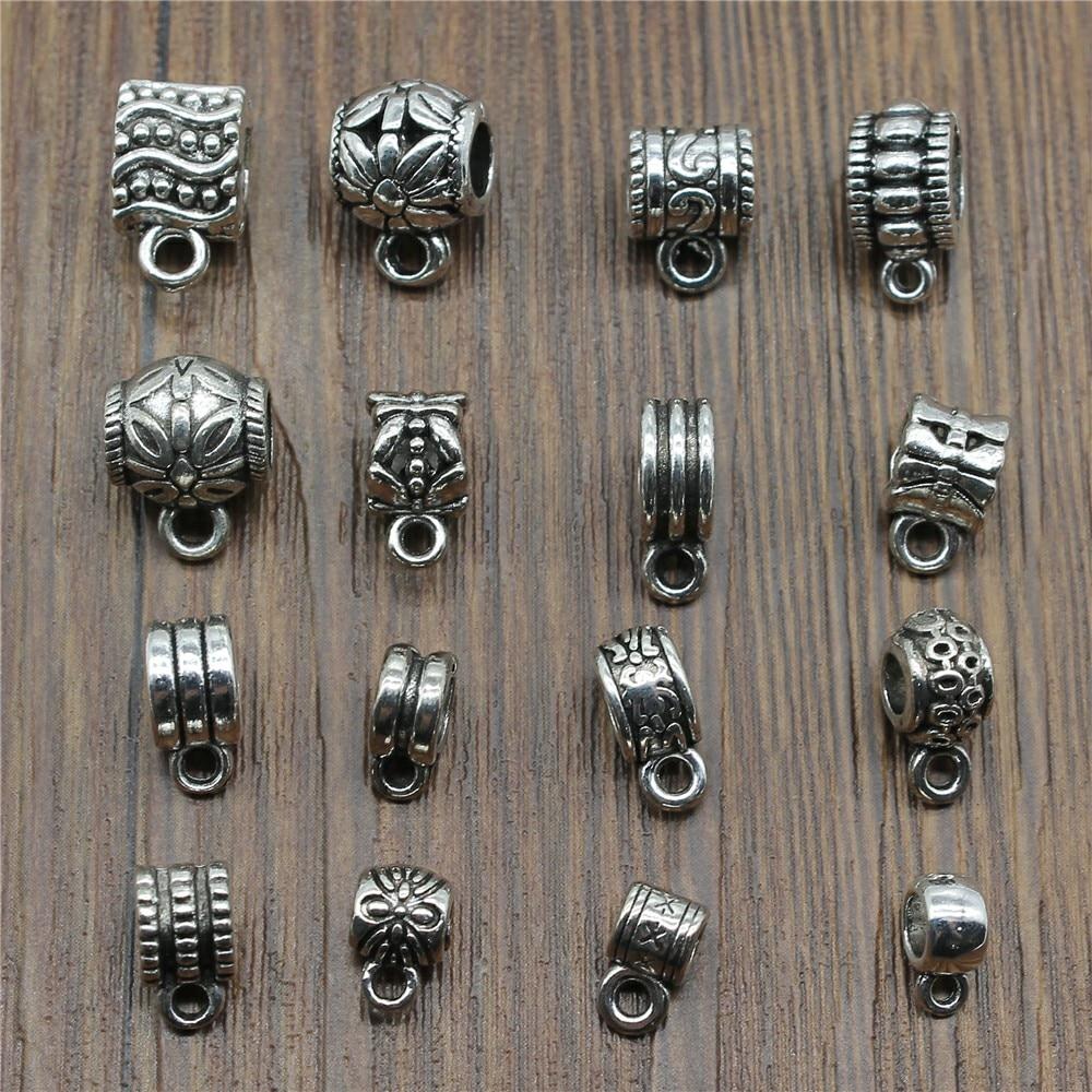 20 unids/lote cuentas conector dijes accesorios de joyería DIY cuentas conector al por mayor Color plata antigua