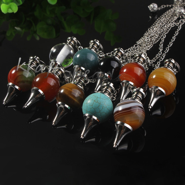 wholesale 10 Pcs Charm mixture precious stone Silvery Metal Ball  Chain Dowsing Healing Chakra Pendulum Gifthealing chakrachakra  pendulumprecious stones