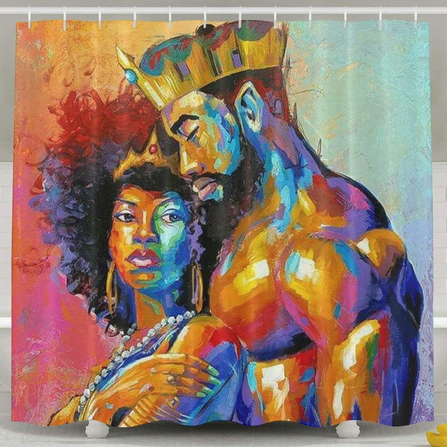 King & Queen Waterproof Bathroom African Decor with Hooks