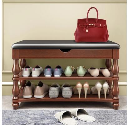 Américain en bois massif chaussures banc chaussures cabinet porte chaussures banc entrée peut s'asseoir étagère à chaussures salle simple lit queue de stockage tabouret.