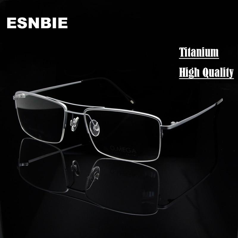6c3de44dc1 ESNBIE High Quality Titanium Glasses Frame Men Half Rim Eyeglasses Pilot  Glass Eyewear Business Man Spectacle Frame Clear Lens
