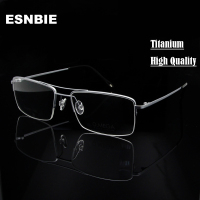 ESNBIE High Quality Titanium Glasses Frame Men Half Rim Eyeglasses Pilot Glass Eyewear Business Man Spectacle Frame Clear Lens