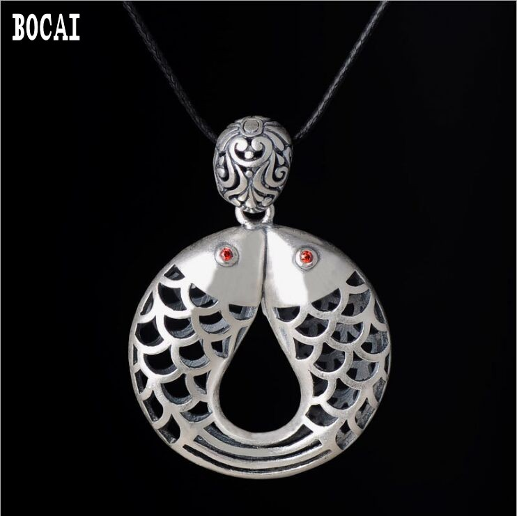 S990 solid sterling silver more than  year pendant retro Thai silver Pisces hollow engraved pendantS990 solid sterling silver more than  year pendant retro Thai silver Pisces hollow engraved pendant