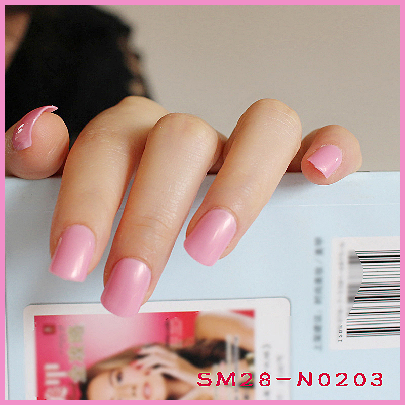 24pcs hot fashion candy color cute nail finished fake nails short ...