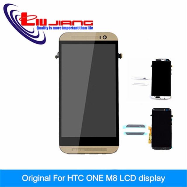 Calidad original lcd asamblea reemplazo para htc one m8 lcd con pantalla táctil digitalizador con marco + envío libre del regalo