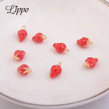 10pcs High Quality Strawy Enamelled Charms Dripping Oil Gold Strawberry Enamel Pendant Jewelry Accessories Finding