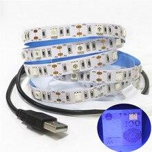 0.5 2 m 5050 SMD Çip UV Led Şerit Işık 30 leds/m su geçirmez Ultraviyole 395 410nm DC 5 V USB Led halat Bant Lambası kabin lambası