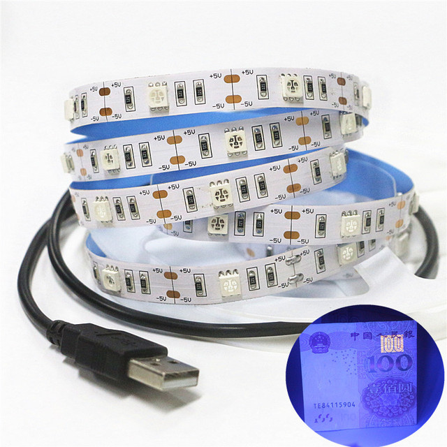 0.5 2m 5050 SMD Chip UV Led Strip Light 30leds/m Not waterproof Ultraviolet 395 410nm DC 5V USB Led rope Tape Lamp Cabinet Lamp