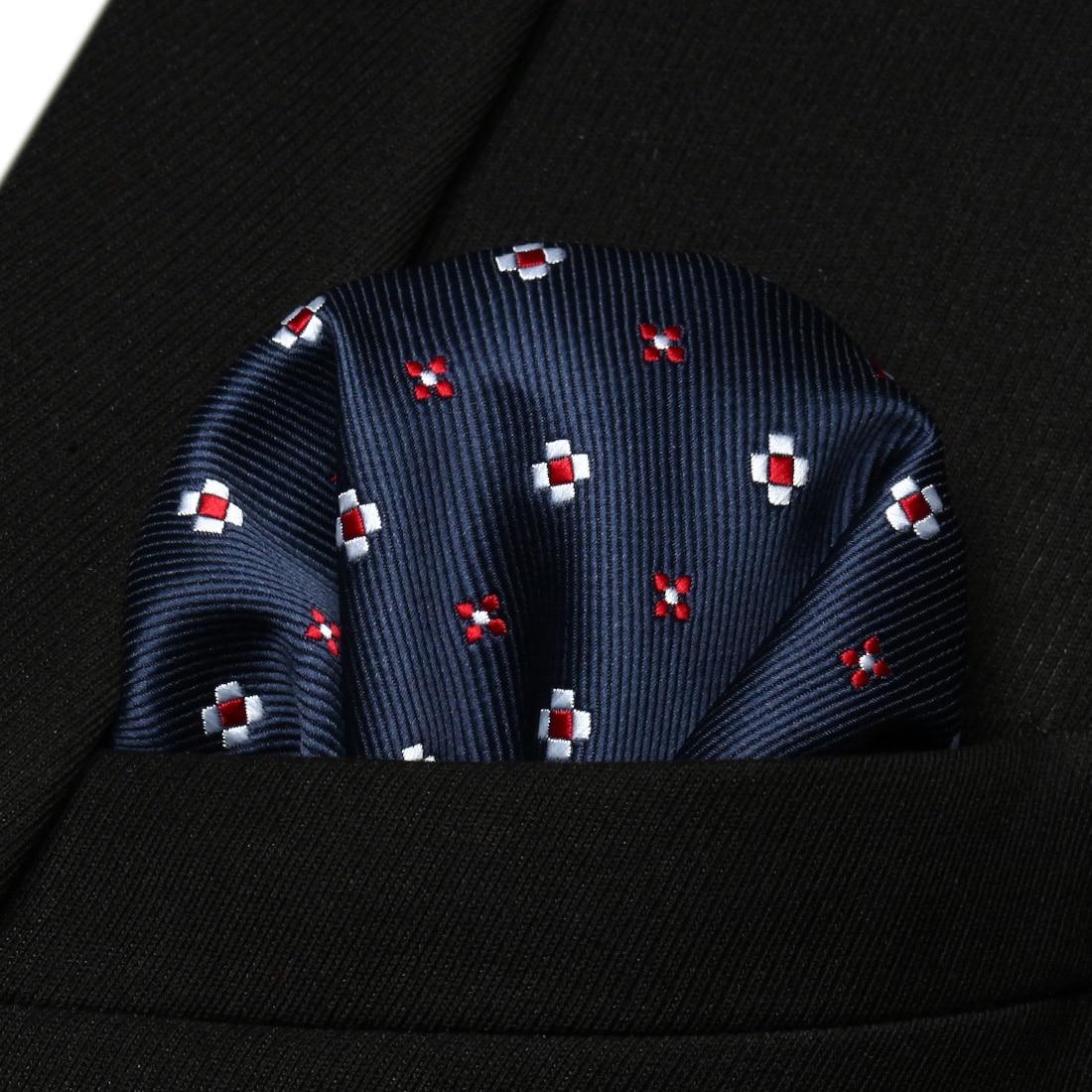 HF608V Navy Blue Red Floral Men Silk Party Handkerchief Pocket Square Hanky