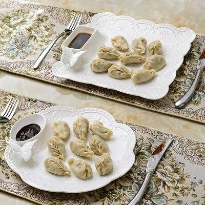 Plaque de boulette en céramique blanche faite main en relief papillon avec sauce bateau assiette à gâteau en porcelaine plat en céramique assiette à dîner