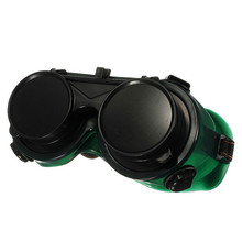 NEW Black & Dark Green Vinyl Resin Flip Up Welding Safety Goggle Protect Solder Welder Goggles Double Lenses