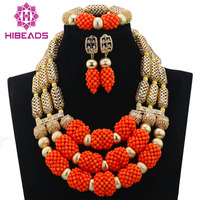 New Bridal Jewelry African Wedding Beads Orange Coral Jewelry Set Nigerian Statement Necklace Free Shipping ABL763