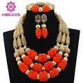 New Gold Plated Bridal Jewelry African Wedding Beads  Orange Coral Jewelry Set Nigerian Statement Necklace Free Shipping ABL763