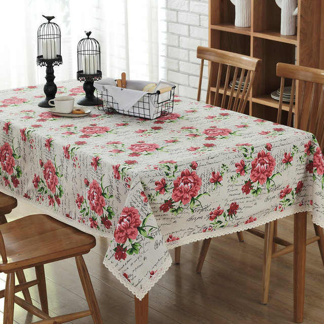 Linen Table Cloth Elegant Rose Floral Printed Table Covers Lace Edge  Wedding Party Coffee Table Tablecloth