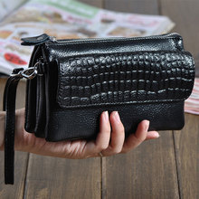 AMONCHY Women Messenger Bags Genuine Leather Alligator Shoulder Bags Ladies Clutches Natural Cowskin Crocodile Purse Summer 2019 fashion two way designer genuine alligator skin ladies women pink day clutches exotic crocodile leather wristlets card case bag