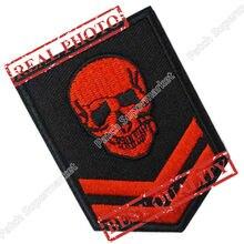 Esqueleto militar de calavera roja bordado, Parche de moda para planchar y coser, uniforme de chaleco de estilo motero, insignia para chaqueta, podemos hacer parche personalizado