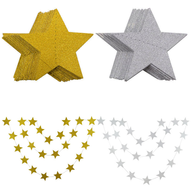 4 Meters Glitter Gold Silver Stars Paper Garland for Wedding Birthday Party Decoration Backdrop Photo Prop Christmas Tree Decor-2