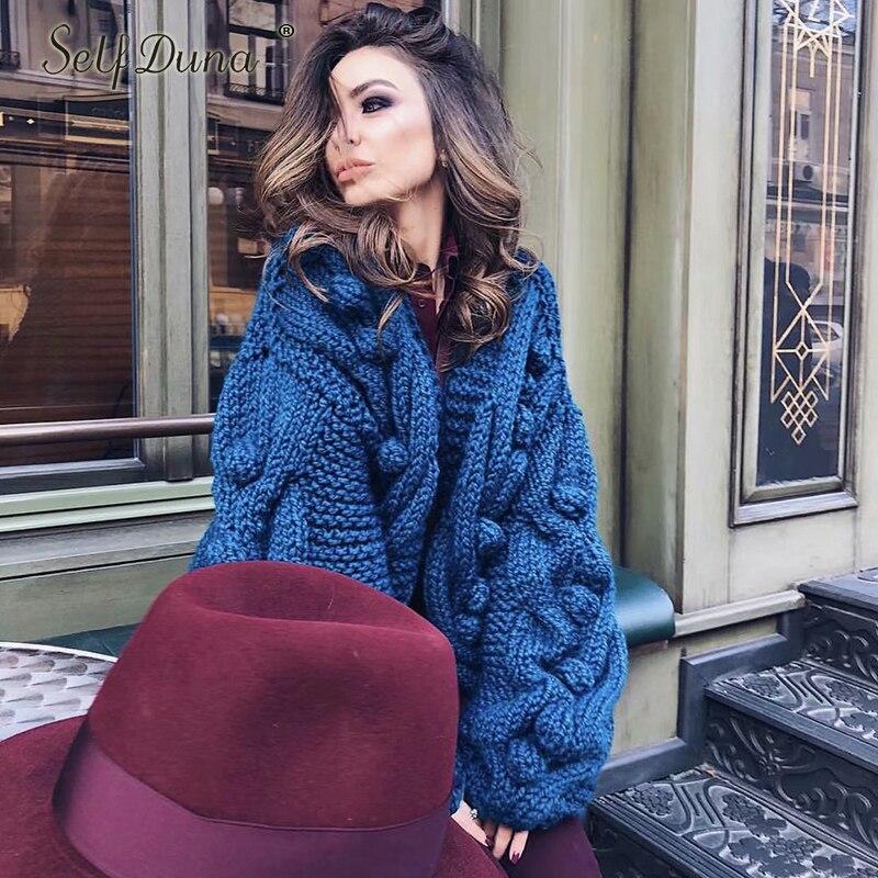 Изделие Duna 2018 осень зима ручной вязки кардиган тянуть роковой теплое толстое пальто Повседневное милые трико красный, серый Для женщин свитер джемпер