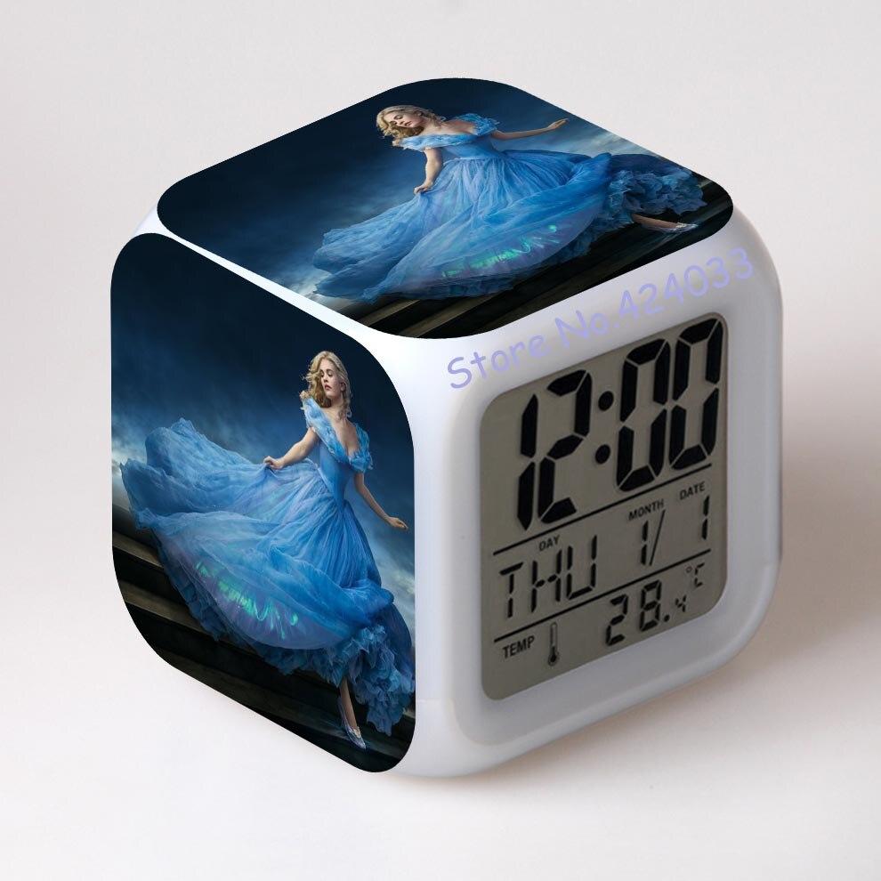 a87aec274b8 Cinderela Despertador LCD relógio despertador digital Mudança de Cor Led  eletrônico legal relógios de mesa em Despertadores de Home   Garden no ...