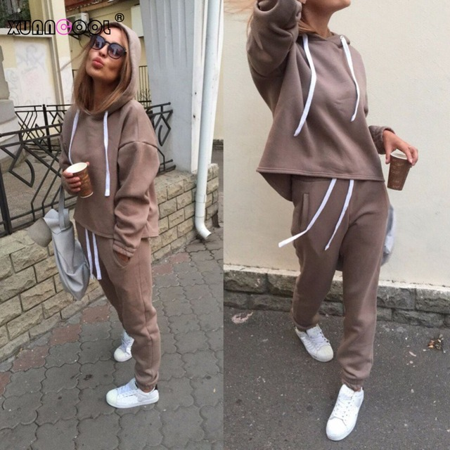 XUANCOOL 2018 Autumn Winter Irregular Solid Women's Outfits Long Sleeve Hoodies and Long Pants Two Piece Set Fitness Tracksuit
