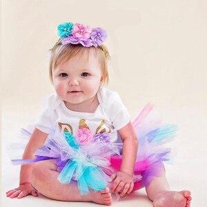 Jednorożec dziewczynek pierwsze urodziny sukienka Tutu dla niemowląt chrzest ciasto suknie dla Party dla dzieci 1 rok dziewczynka sesja zdjęciowa kostium