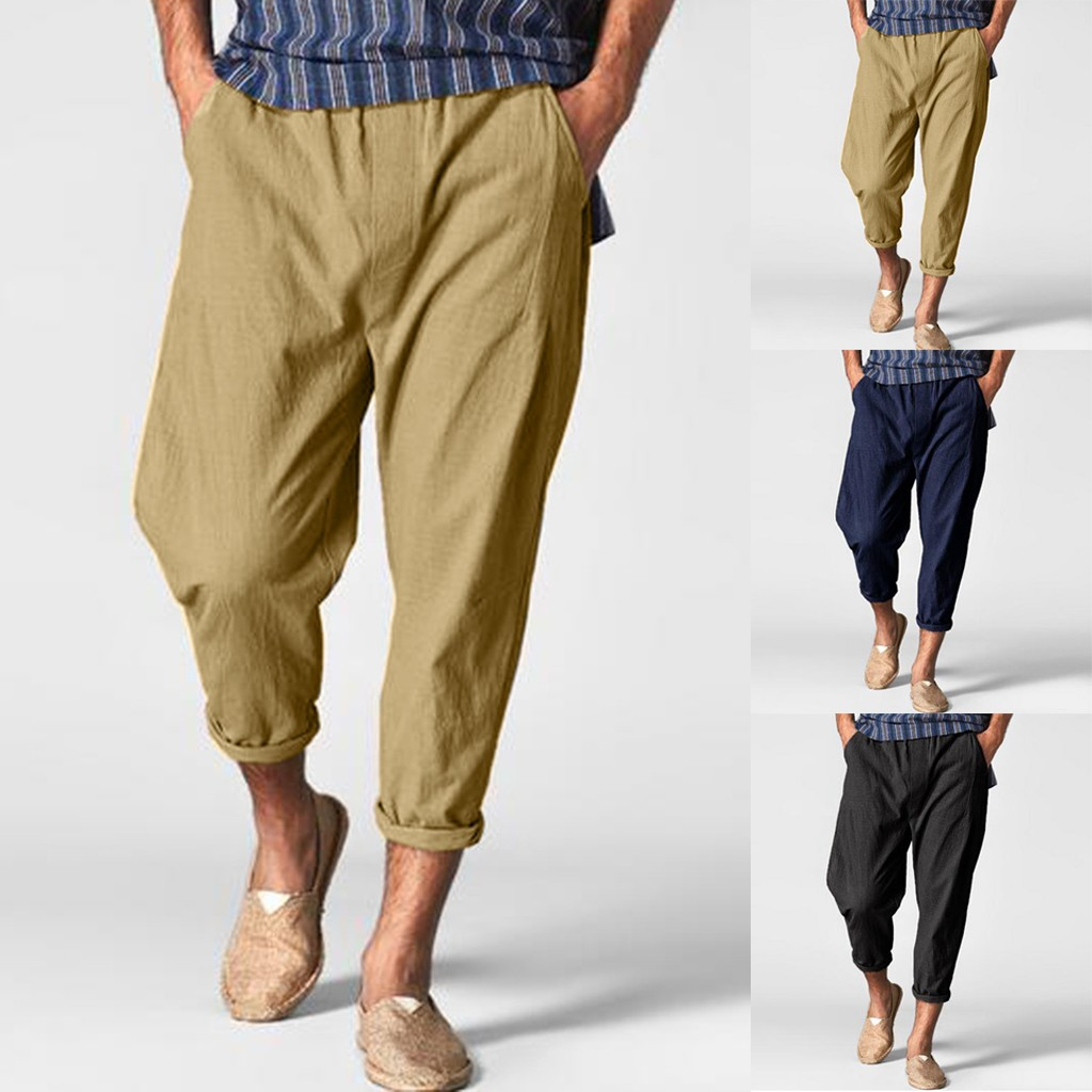 Mens Overall Cotton Linen Bloomers Straight Casual Loose Pants Trousers Fashion