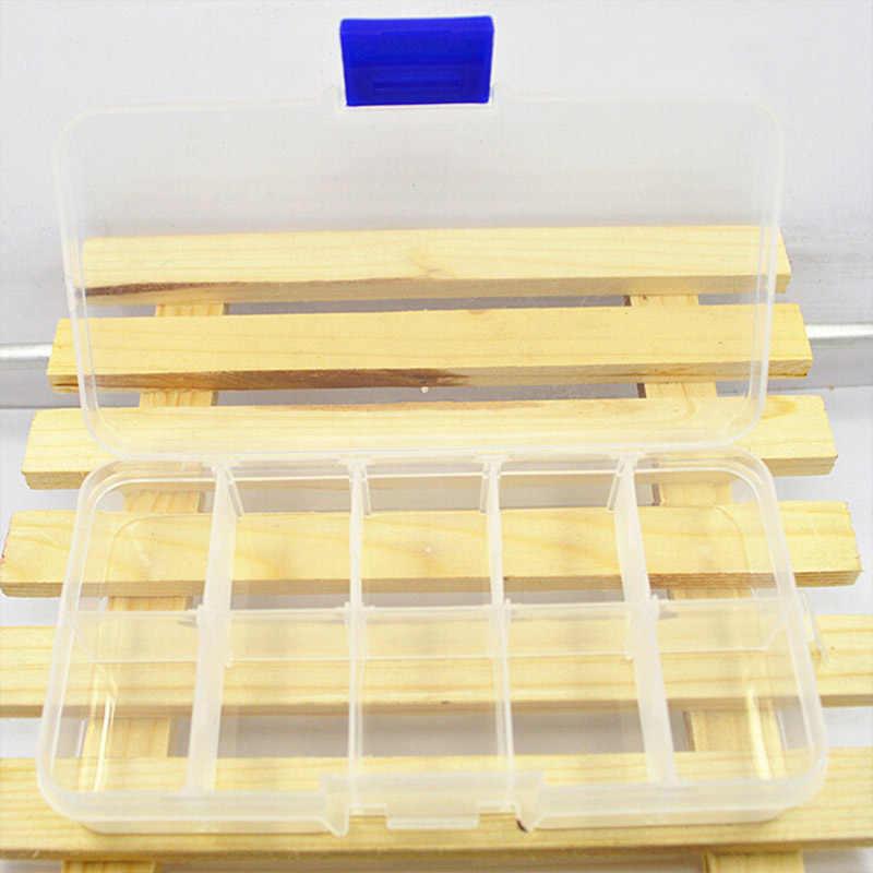 10 siatki przedziały plastikowy przezroczysty organizer klejnot koralik skrzynki pokrywa pojemnik schowek na biżuterię pigułka