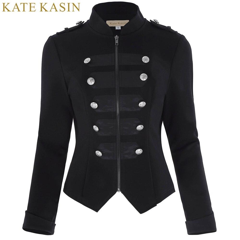 Këmishë xhakete ushtarake Kate Kasin Gratë Button me mëngë të gjata të Zeza Zbukuruar Veshjet Gothic Viktorias Veshjet Veshjet e Brendshme