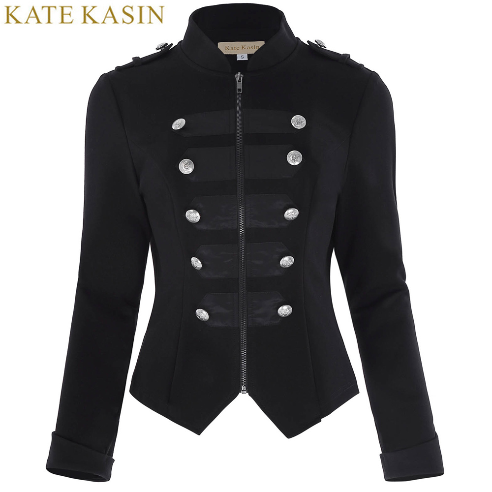 Kate Kasin Military Jacket Women Black L
