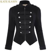 Kate Kasin New Retro Vintage Victorian Brocade Corset Coats Women Tops 2017 Black Long Sleeve Button Outerwear Military Jacket