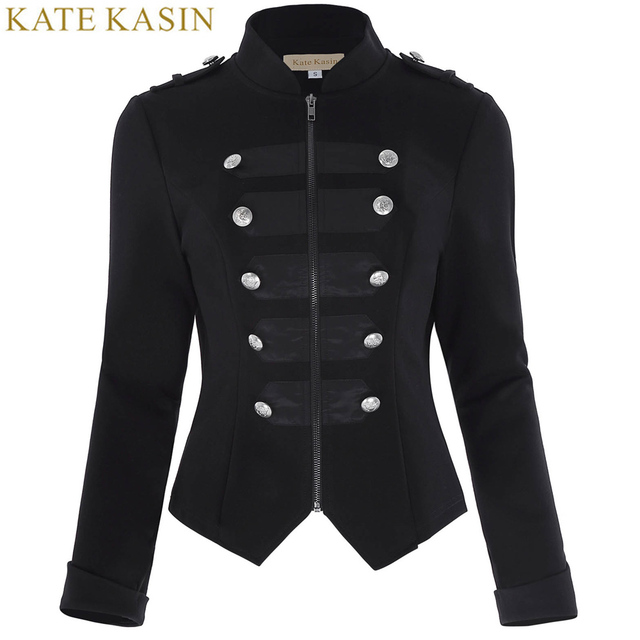 c4e8736435db8 Kate Kasin chaqueta militar mujer negro manga larga botón decorado  cremallera Vintage gótico victoriano abrigos corsé