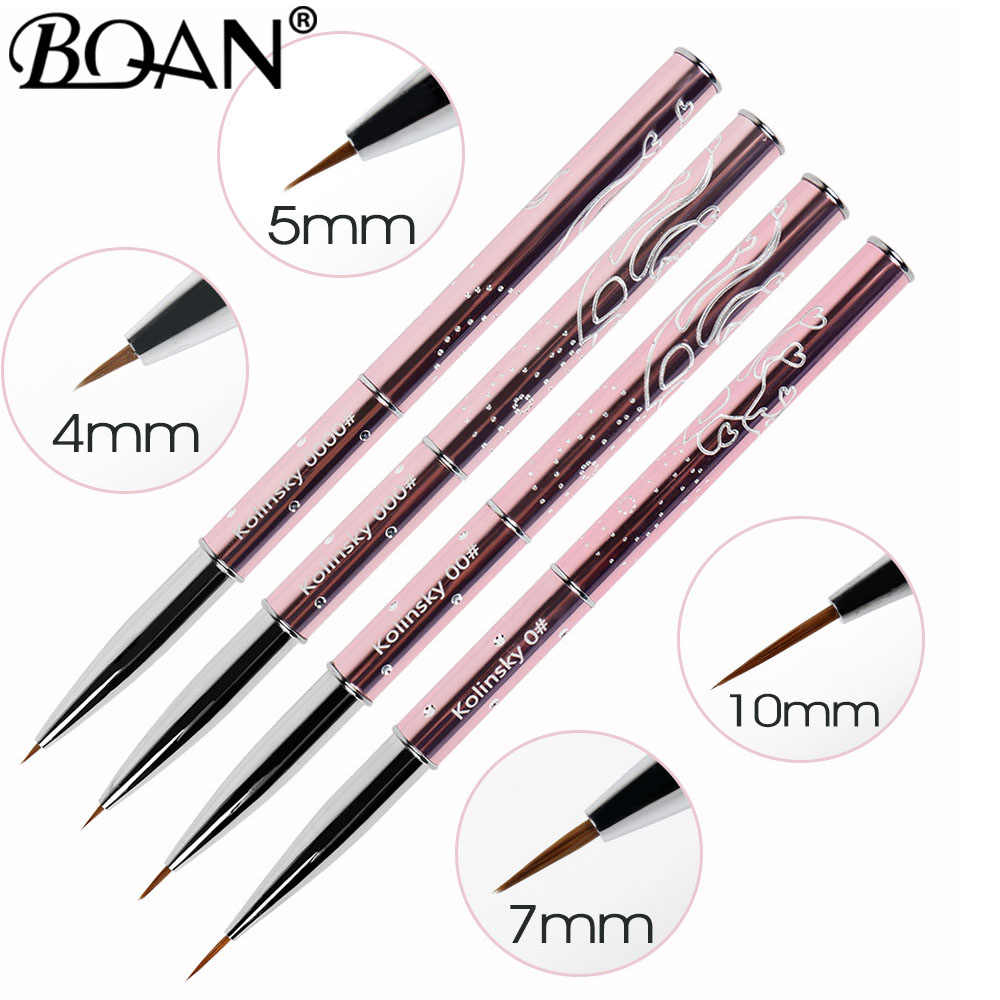 BQAN 4/5/7/10mm 1pc Pure Sable Kolinsky Manicure Borstel Nail Art Liner Brush kwast Nail Drawing Brush Schilderij Bloem