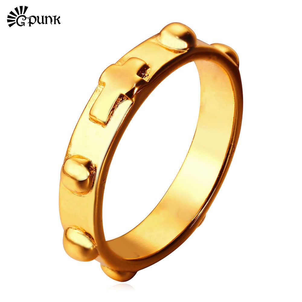 Unique Cross Ring For Men & Women Wholesale yellow Gold/ color Punk Ring European Style Women Ring Men Ring R1878G