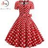 Women Summer Dress Elegant Retro Vintage 50s 60s Robe Rockabilly Swing Pinup Dresses Casual Plus Size Red Party Vestidos 5