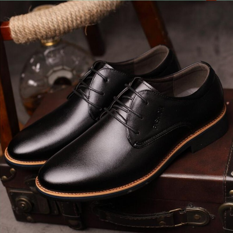 Style À Sur Black Hommes Mode D'affaires Cuir brown Bout Muhuisen Robe Carré La Glissement Messieurs Chaussures En POkZTlwiXu