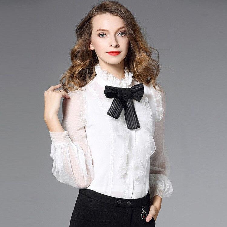 Blanc floral dentelle mousseline de soie bureau blouse femmes hauts et chemisiers 2019 élégant vintage sexy boho à manches longues grande taille palace