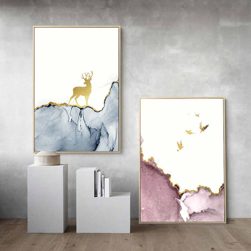 Marble Texture Deer Tree Poster Nordic Abstract Print Wall Art Canvas Painting Minimalist Decorative Picture Modern Room Decor