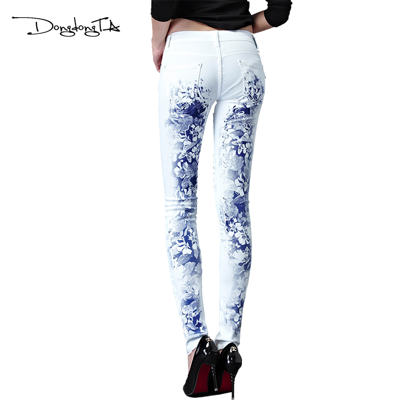Dongdongta New Jeans Women Girls 2017 Ny originaldesign Mid midja Vit - Damkläder - Foto 3