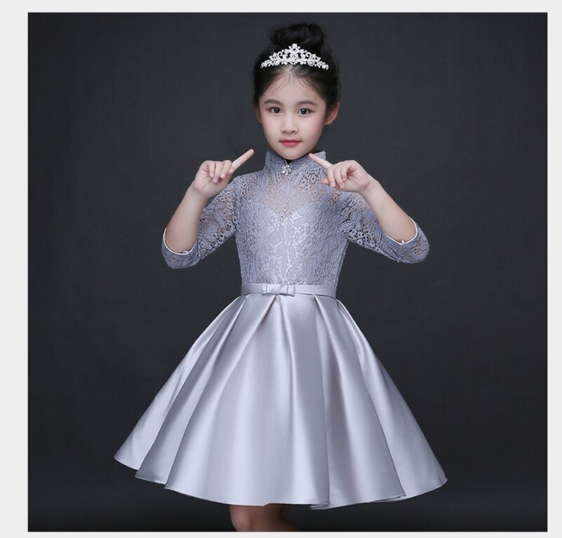 HTB14obkQFXXXXcNXXXXq6xXFXXXH - Baby Girl Kid Evening Party Dresses For Girl Wedding Princess Clothing 2017 New Solid Color Bow Moderator Dress Children Clothes