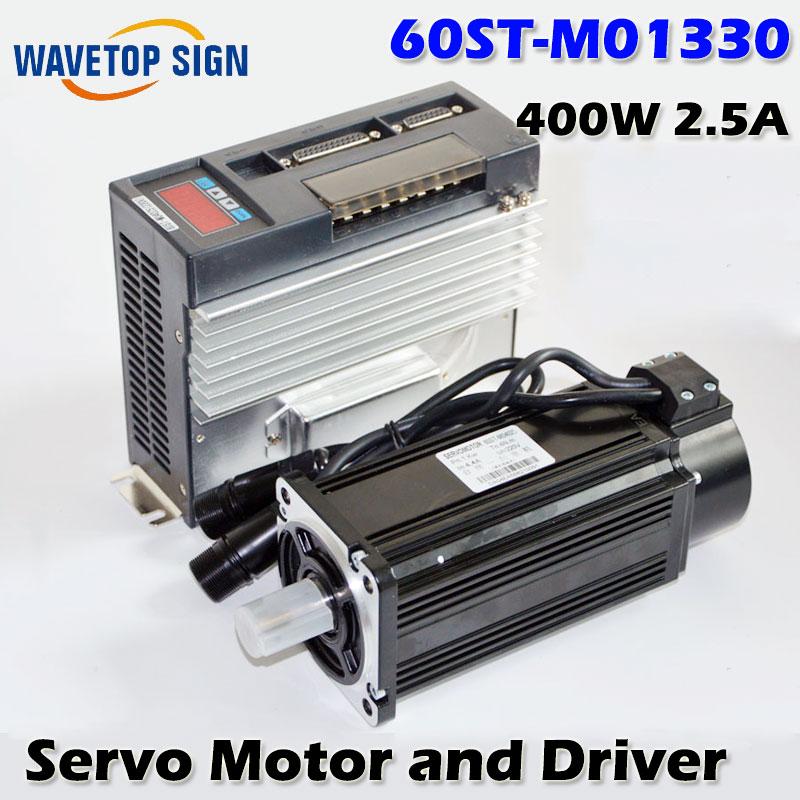 AC Servo Motor 3000RPM Single-Phase 60ST-M01330 400W 2.5A  AC Servo Motor + Servo Motor Driver. 80st ac servo motor three phase 80st m01330 servo motor 220v matched servo driver servo motor motor cable